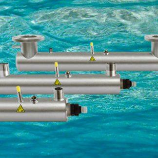 Reactor de lámparas germicidas de ultravioleta para la desinfección de agua.